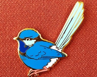 Splendid Fairywren Male Hard Enamel Pin - Pink White Blue and Gold - Lapel Pin Cloisonné Badge
