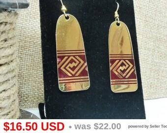 Laurel Burch Earrings - Gold Tone & Red Earrings - Signed - Tribal Design - Boho Dangling Pierced Earrings - Vintage 1970's 1980's 1990's