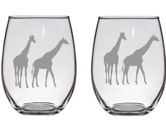 Giraffe Etched 21 oz Stemless Wine Glass, Beer Glass, Pilsner, giraffes FREE personalization
