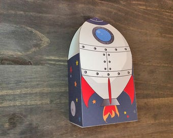Space rocket party birthday, Favor Gift Box - Printable