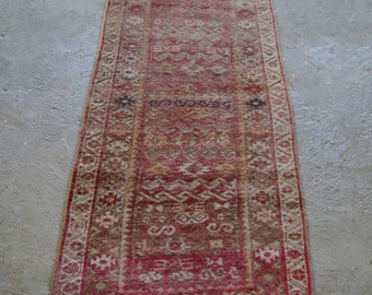 "2'8""x7'3"" Antique Runner Rug, Turkish Handwoven Rug, Oriental Wool Rug"