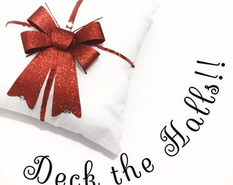 Gift pillow, christmas pillow, red and white holiday pillow