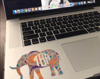 Pattern Elephant Monogram Vinyl Decal
