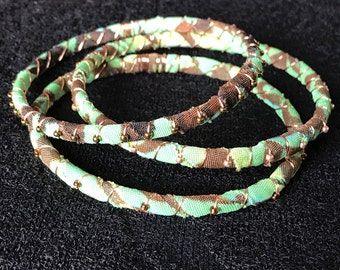 Camo, green, brown, bangles, cloth wrapped