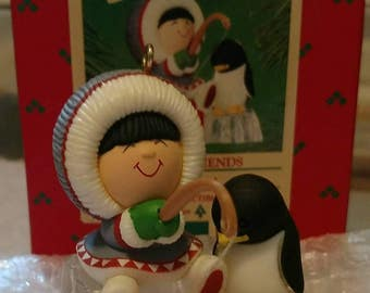 Hallmark Frosty Friends 1984 Keepsake Ornament, Eskimo and Penguin Fishing on Ice in Original Box, Fifth in Collectible Series