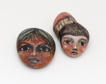 Two Hand Painted Stone Faces One Of A Kind, Vintage 1980s