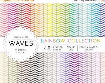 80% Until New Year - SALE Waves digital paper · 48 rainbow nautical backgrounds with sea and waves chevrons for scrapbooking · Instant downl