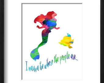 Ariel - The Little Mermaid - Disney - Watercolor Art Print - Printable Decor - Watercolor Painting - Kids Decor- Nursery Decor
