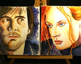 Watercolor Portraits of Famous Duos - Eternal Sunshine of the Spotless Mind - Joel and Clementine