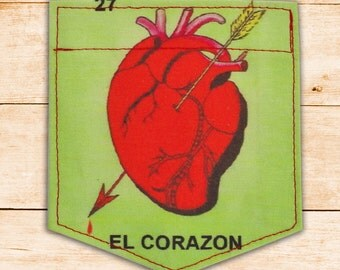 El Corazon-Loteria, The Heart mexican loteria Sticky Pocket Patches - Patch for Tshirts