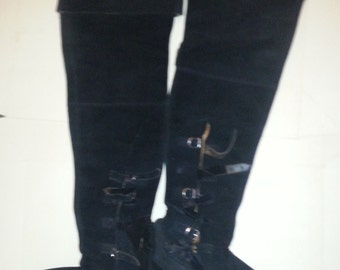 Vintage Black Suede, Leather Long Pirate Boots UK 7. Well-used on stage. EX-RSC Amazing boots, fantastic pedigree. Anello & Davide.