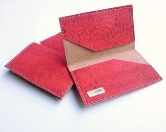 Cork business card case, red cork fabric