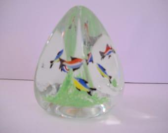 Fish Paperweight Art Glass