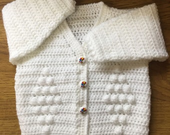Printed Baby Crochet Cardigan Pattern In DK. Sizes 3 months to 6 years (1004)