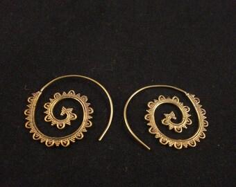 Tribal Brass Spiral Earrings Ethnic Earrings Gypsy Earrings