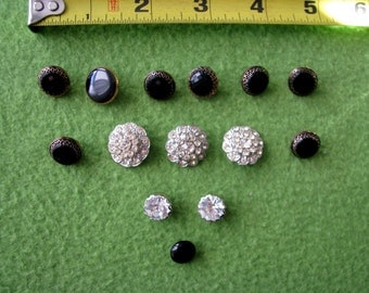 "Five Rhinestone Buttons and Nine ""Black Jet"" Buttons from the 1940's"