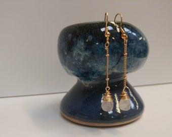 Elegant Dangle Teardrop Chalcedony Earrings