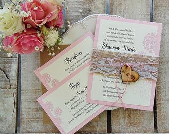 Custom Wedding Invitation Set, Rustic Wedding, Printed Invitation, Burlap Wedding Invitation, Rustic Invitation, Elegant Modern Assembled