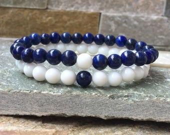 Partner bracelets bracelet set him and 6mm lapis lazuli jade long distance relationship
