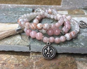 Lily heart tassel bracelet jade rose