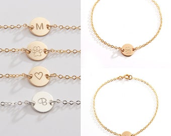Personalized Small Round Disc Bracelet-3/8 inch-Initial, Dog Paw, Heart, Symbols- Gold Filled, Rose Gold Filled & Sterling Silver-CG245B