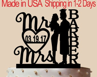 Doctor and Airline Hostess Cake Topper, Wedding Cake Topper,  Bridal Shower Topper, Wedding Decoration, Custom Name, Silhouette,  CT181