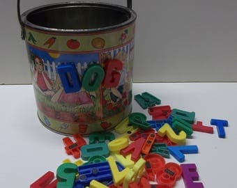 Vintage Tinsmith's Crafts Bucket With Alphabet Magnets
