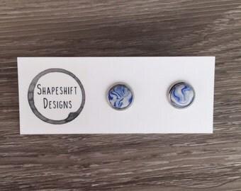 Polymer Clay Bezel Stud Earrings- Blue Marbled
