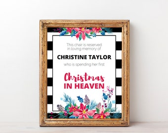 First Christmas in Heaven Poem Sign, Empty Chair Christmas Memorial with Red Poinsettia Design, Printable Instant Download Editable PDF X003