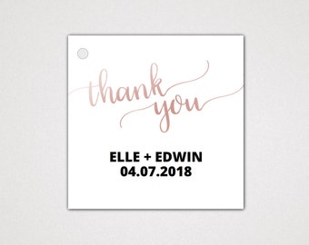 Rose Gold Wedding Favor Tags Printable Template: An Elegant Guest Thank You Gift Label, DIY Digital Instant Download Editable PDF K007