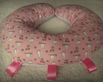 Baby Girls Pink Tummy Time Pillow Cushion Ribbon