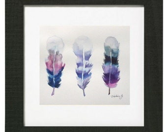 "trio of feathers watercolor original 9 ""x 12"" and print formats to choose"