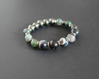 Green black agate elastic bracelet Moss agate jewelry Black agate bracelet Energy jewelry Stretch protection stones bracelet Green gray gift