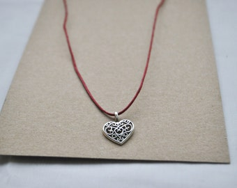 Handmade Sherry Red Heart Necklace