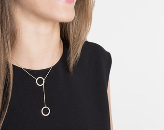 Two Circles Necklace,Circle Lariat Necklace,14K gold filled