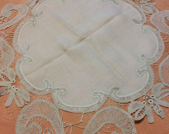 Antique Victorian Tape lace, Battenberg, drawnwork, tatted table topper or doilie