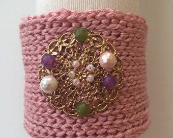 Bracelet crochet pink