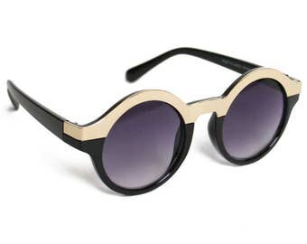 Vintage Round Lady Gaga Style Sunglasses - Two-Tone Circle Black Gold Big Frame Music Festival Gear Fifth Element Costume Retro Sunnies