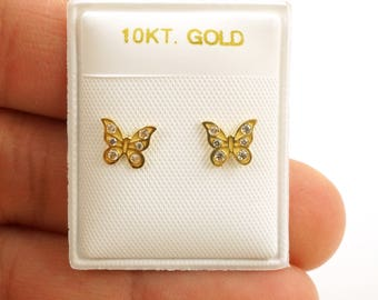 10k Gold Screw back Butterfly Earrings - Best for Toddlers and Little Girls