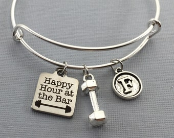 Gym Jewelry - Crossfit - Weight loss - Workout Motivation - Charm Bracelet - Gift For Her - Fitness Gifts - Weights - Fitness Chick -Fitness