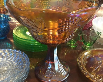 Vintage Gold Carnival Glass Wedding Bowl by Indiana Glass
