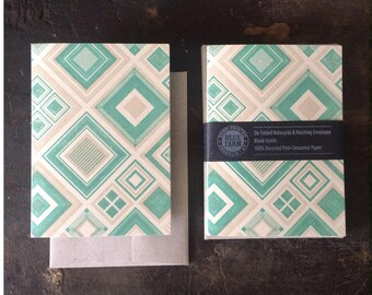 Six Diamonds Letterpress Notecards - Green & Tan