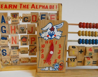 Two Wood Learning Toys Time-Telling, Addition, Subtraction, Abacus and Alphabet Tiles   (622)