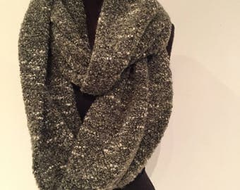 Olive Boucle extra wide infinity scarf 214cm full loop
