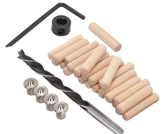 "Doweling Accessories Tool Kit 1/4"" doweling pins drill bit doweling centers woodworking kit"