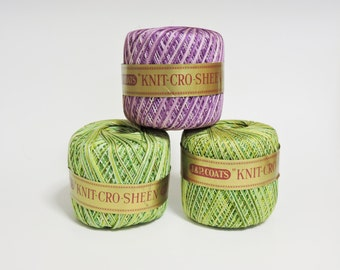 3 Rolls of Knit - Cro- Sheen, J & P. Coats, Knit- Cro - Sheen