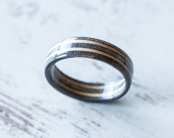 Skateboard Ring -Gray Wooden Ring - Wooden bands - Wood Ring  - Gray Black - Wooden Jewelry - Waterproof Ring - Skate Ring -Wedding Ring