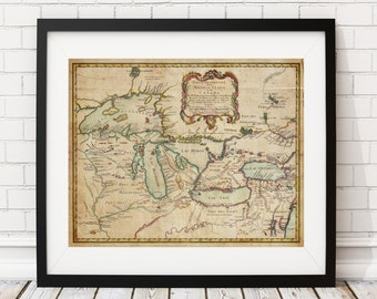 New France Map Print, Canada Map, Great Lakes Map, Vintage Map Art, Antique Map, History Gift, Old Maps, Canadian Map, French Canada