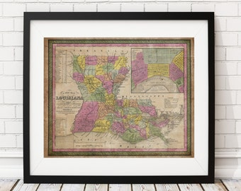 Louisiana Map Print, Vintage Map Art, Antique Map, Wall Art, Map of Louisiana, Old Maps, Louisiana Art, Louisiana Gifts, Louisiana Print,