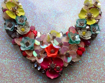 Stunning Summer  flower, sequin and bead adorned necklace